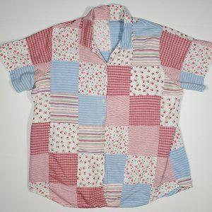 Vintage 90's Patchwork Cottagecore Floral Shirt 1X